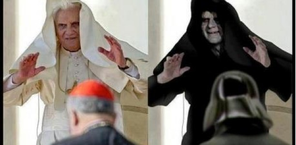 Papst und Darth Vader im Vergleich