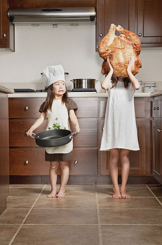 truthahn, kinder, kochen, haube