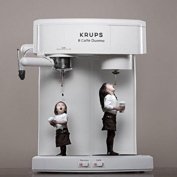 kaffee, kaffeemaschine, kinder, tropfen
