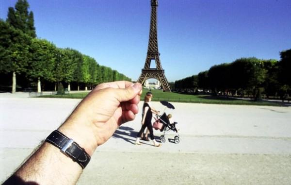 Eiffelturm, Paris, Hand, Blau, Kies, Uhr, Bäume