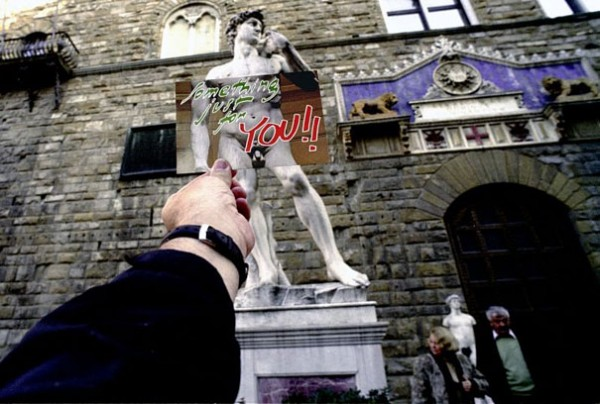 Rom, Statue, Postkarte, David, Hand, Uhr