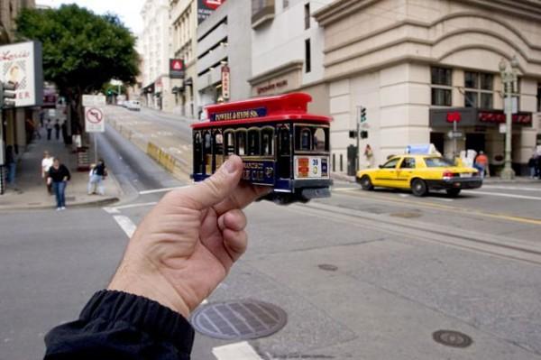 San Francisco, Amerika, Auto, Taxi, Gelb, Tram