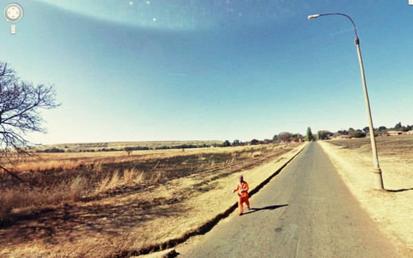 rennen, flucht, wüste, orange, google street view