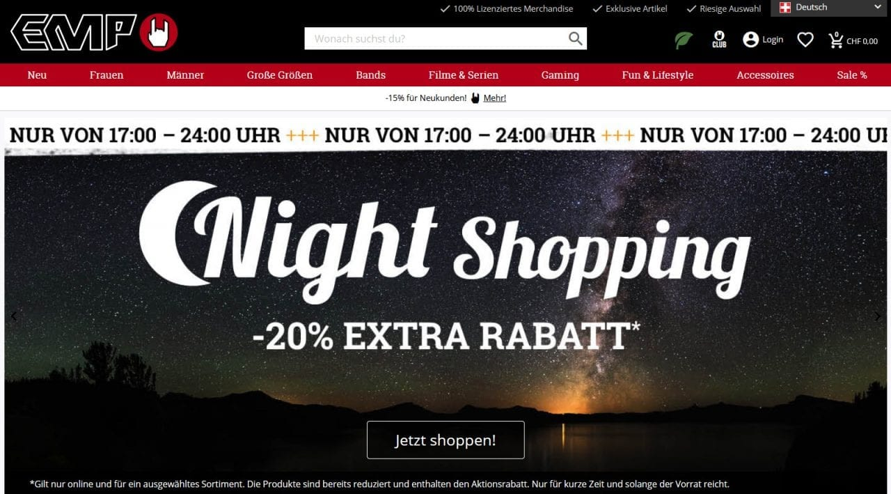 Emp Online Shop Fanartikel Schweiz