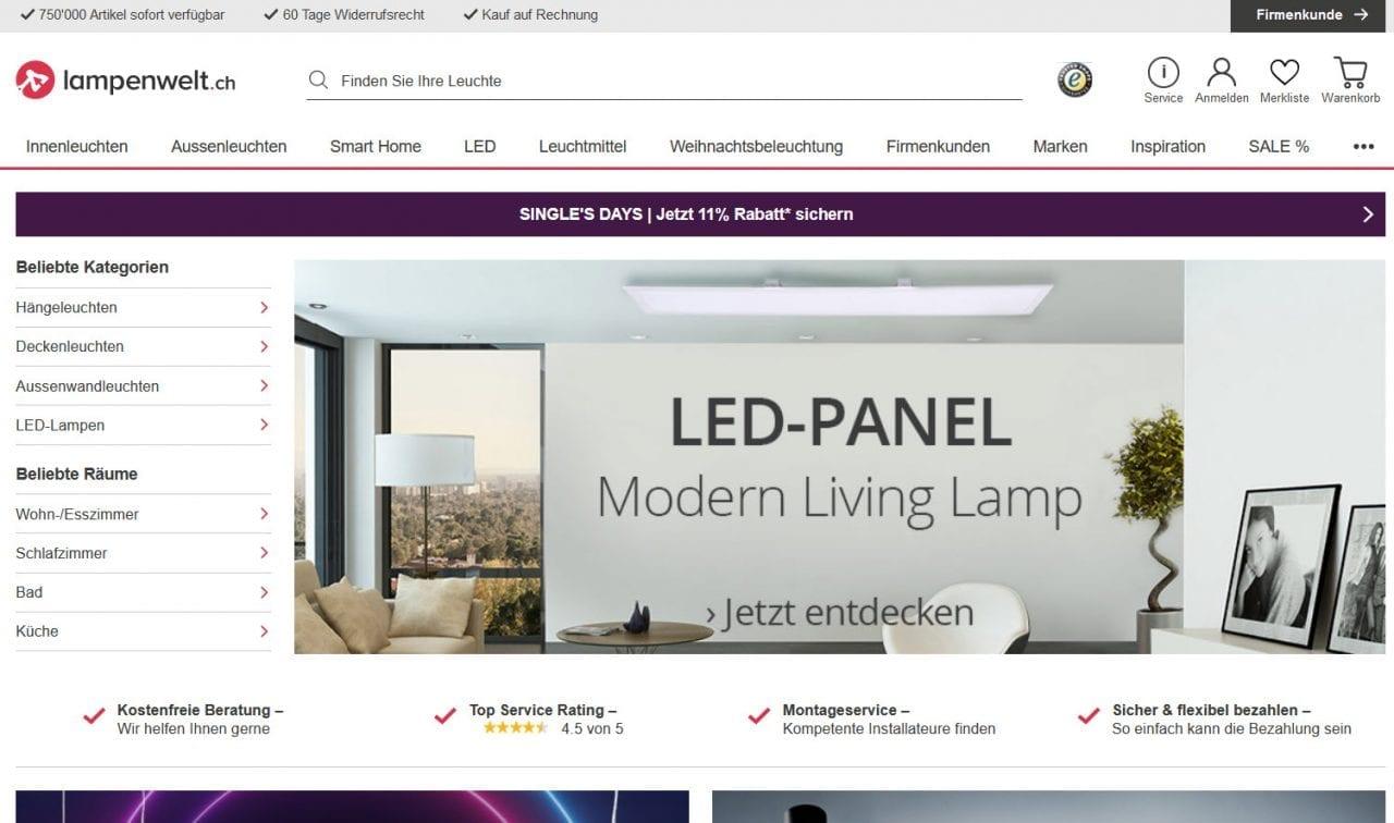 Lampenwelt.ch Online-Shop für Lampen & Leuchten in der Schweiz